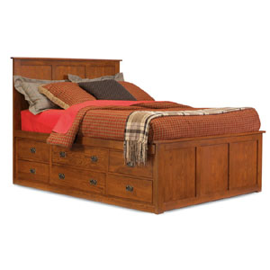 Mission Oak Cal King Pedestal Bed with 9 storage drawers