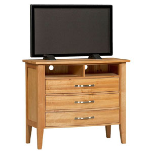 Townhouse 3 Drawer TV Media Chest In Natural Finish